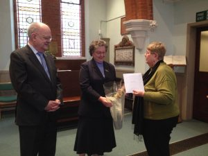 Presentation to Tony and Dilys Thomas by Church Sec., Barbara Henderson